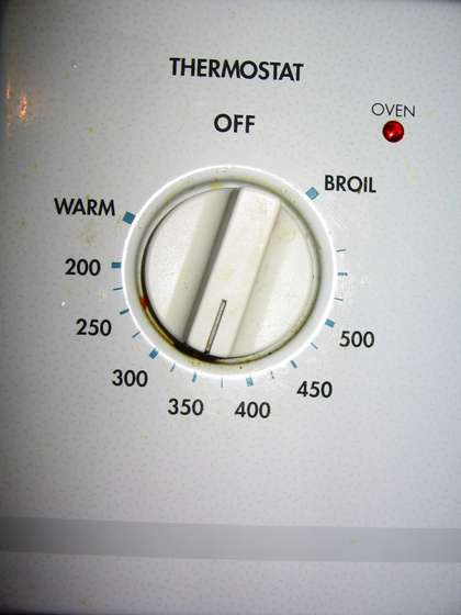 Oven set at 350 degrees