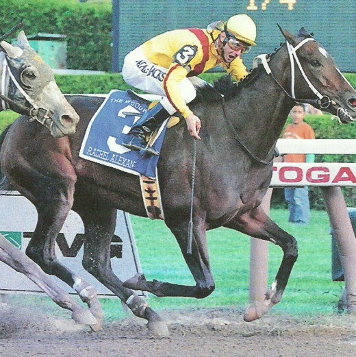 Calvin Borel riding Rachel Alexandra. The filly won the Preakness Stakes with Borel in 2009.