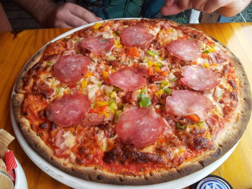 The  most delicious pizza at Café Mario at the Knysna Waterfront
