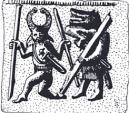 Sixth century Swedish helmet plate depicting warriors wearing animal masks.