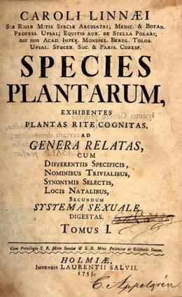 Species Plantarum, the famous Linnaeus' work