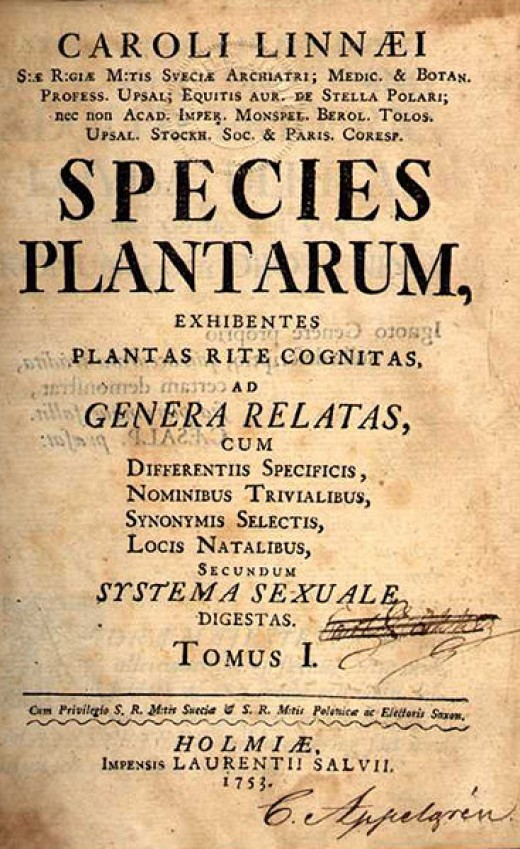 Species Plantarum, the famous Linnaeus' work