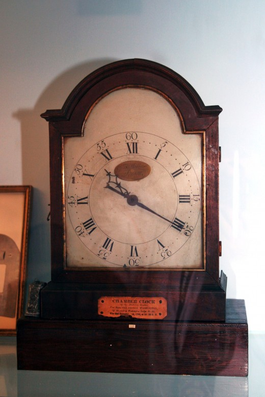 Gen Washington's chamber clock, stopped at the moment of his death.