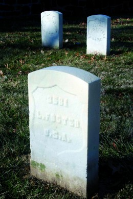 Three of the five Buffalo Soldier graves at Alexandria's military cemetery
