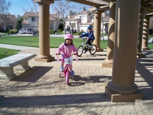 Kids Biking in a Neighborhood