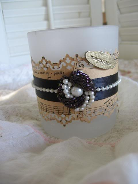 Vintage clip on earring, ribbon, string of pearls, tag, sheet music