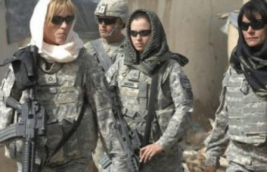 American servicewomen forced into hijabs.