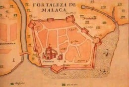 Map of the Portuguese fort and the city of Malacca, in 1630.