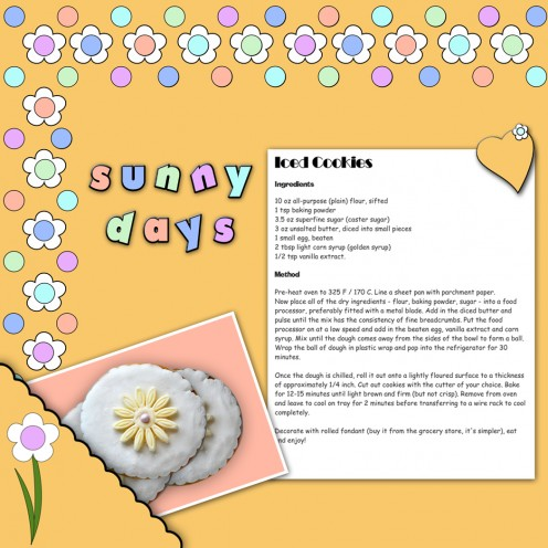 This is a summer recipe scrapbook page on a sunny yellow background paper with floral edges.  I have used a corner pocket to pop the photograph into.  The lettering is in a fun, colorful font that matches the theme.