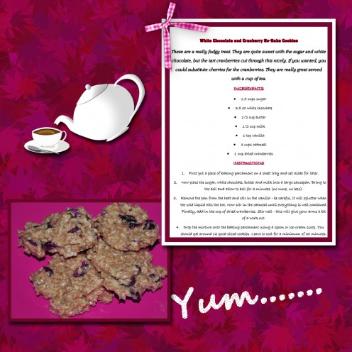 This is a simple but eyecatching layout with a pink background paper, frame, embellishments and lettering, along with a photograph of the cookies.
