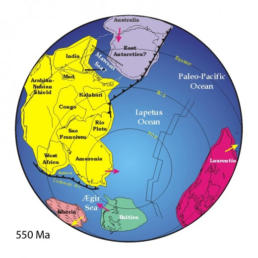 Reconstruction of the Southern Hemisphere c. 550 million years ago