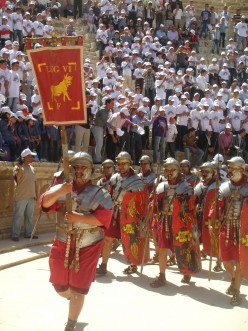 Roman soldiers re-enact the past