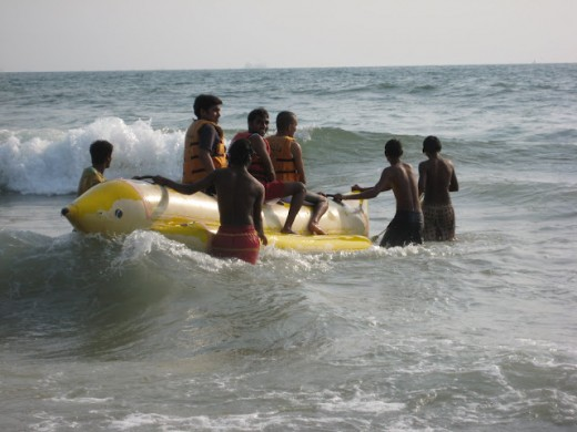 Banana boat ride is one of the most adventurous water sports activity in the sea.