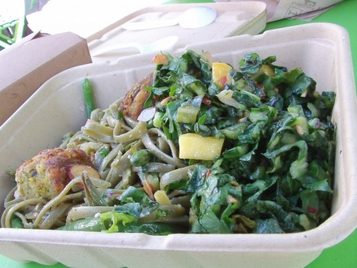 Wholefoods Market sells the best organic food in town - Dandalion/Pineapple Salad & Green Spinach noodles