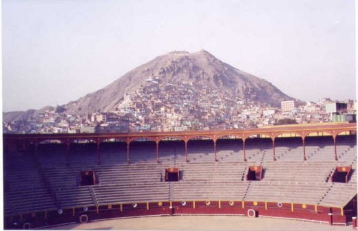 View of Cerro San Cristobal and the shanty towns from the bullfighting ring.