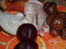 chicken, beetroot,potatoes and fresh bread.
