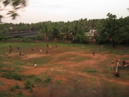 """Evening leisure time for Malabar """"Lionel Messi"""". A scene from Nilambur train."""