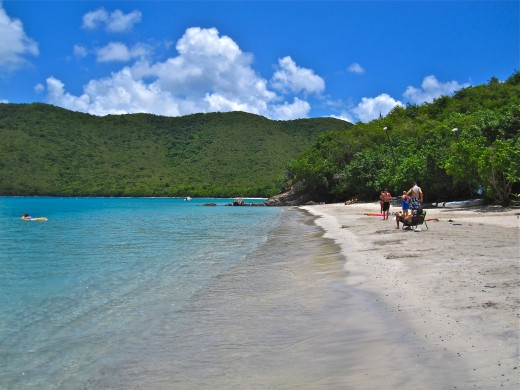 The beach at Little Maho Bay