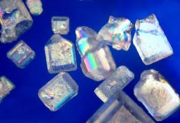 Sugar crystals, its most popular form.