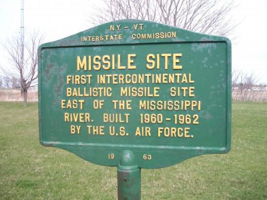Historical plaque, Alburgh, Vermont, recalling its 1962 intercontinental ballistic missile site