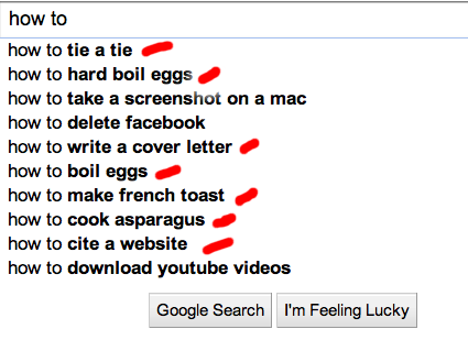 """Google instant results when typing """"how to"""" on search box"""