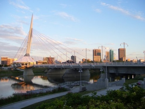 Esplanade Riel and Downtown Winnipeg from St. Boniface.