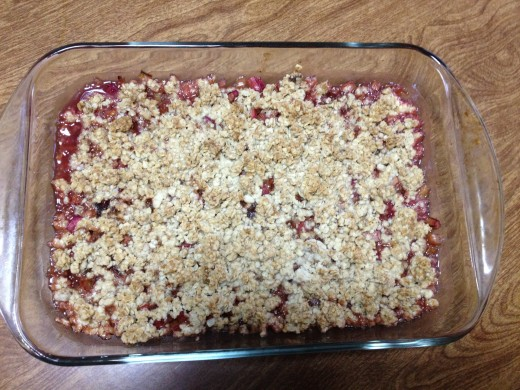 Delicious served warm - fresh rhubarb crisp!