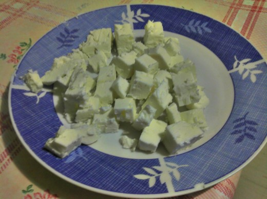 Cubes of feta