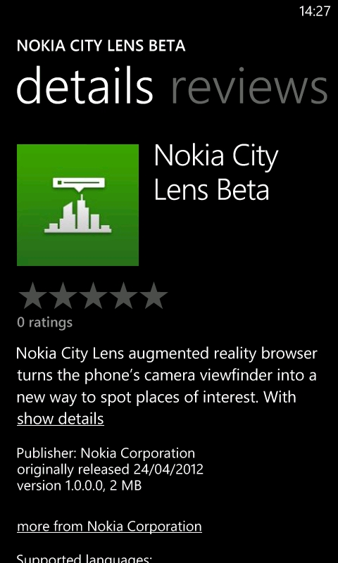 App page on the Marketplace on the Lumia 800