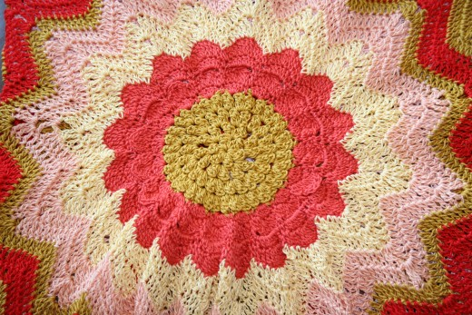 CROCHETED SUNFLOWER by Jprescott  DESCRIPTIONDetail of sunflower made from crochet on the front of a tank top