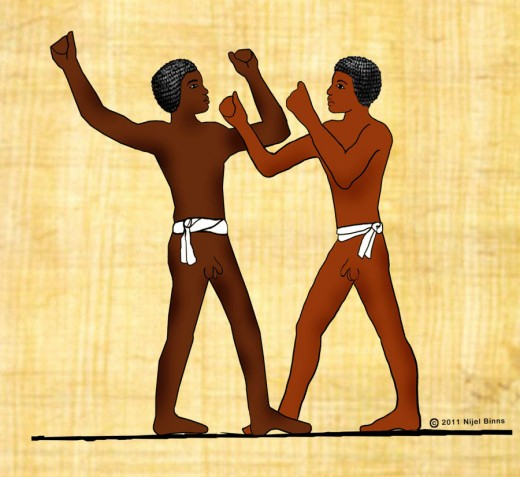 Ancient tomb art from Egypt depict martial arts techniques.