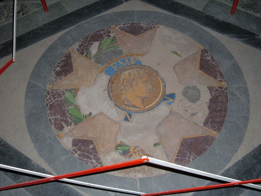 A mosaic on the floor of Napoleon's crypt in Les Invalides, France