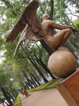 """Ángel en Cuclillas IV Monumental (Monumental Squatting Angel IV)"" 2006. Bronze Sculpture by Mexican Artist Jorge Marin. Mexico City Open Air Exhibit at ""Paseo de la Reforma (Chapultepec)""."