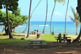 A verdant tree canopy and picnic tables make Mākālei Beach Park a nice place to lunch.
