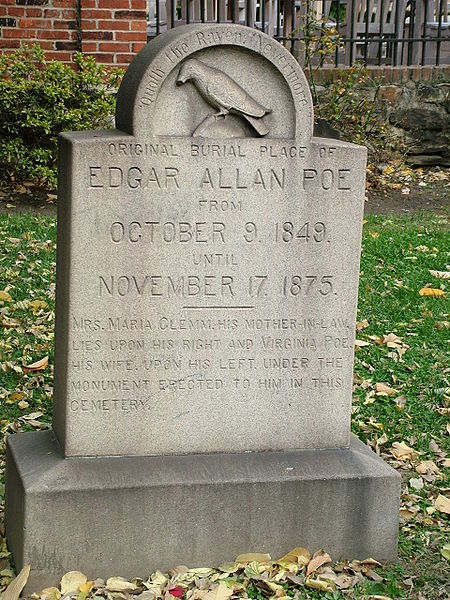 The original grave site, where the Poe Toaster paid tribute to the writer on his birthday every January 19th.