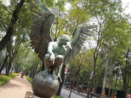 """Ángel Persélidas Monumental (Monumental Perselidas Angel)"" 2009. Bronze Sculpture by Mexican Artist Jorge Marin. Mexico City Open Air Exhibit at ""Paseo de la Reforma (Chapultepec)""."