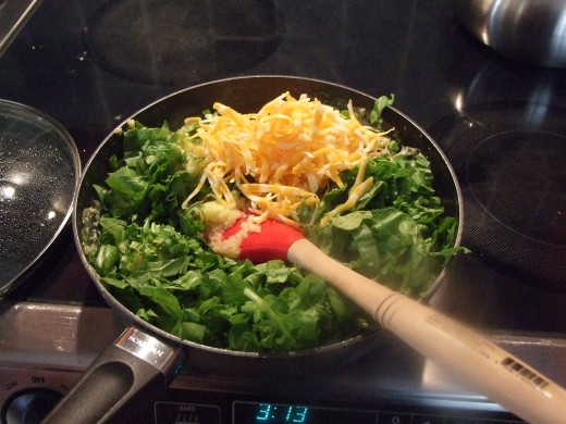 Adding spinach and cheese