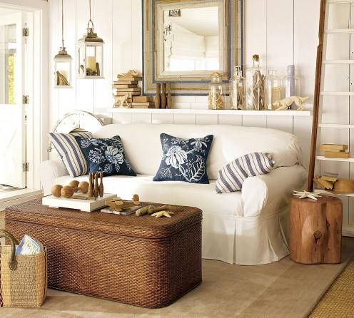 Classy coastal style living room.