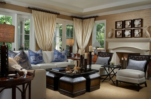 English country living room design.
