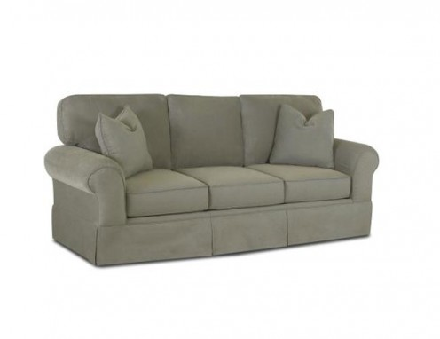 Grey microfiber 3-seater sofa.