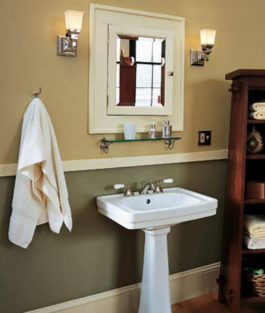 Mission style bathroom.