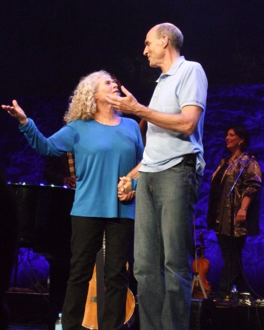 Carole King and James Taylor onstage during their Troubadour Reunion Tour, Melbourne performance, March 2010.