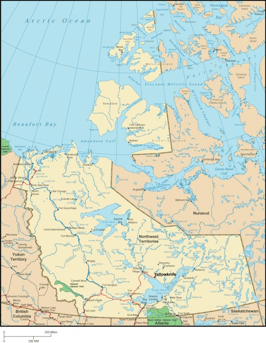 "Map of portion of the Barrens relevant to my adventure.  To locate our camp, find Yellowknife, then go up and Right to the word ""Nunavut"".  Our camp was just above the second ""n"" of Nunavut."