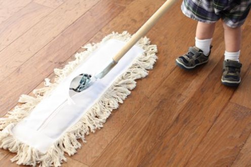 One of the last steps is to dust your antique wood flooring. This is easily done with a dust mop like this - and don't worry, they're quite cheap!