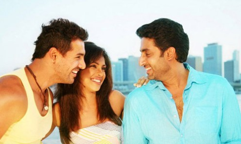 John Abraham, Priyanka Chopra and Abhishek Bachchan in Dostana.