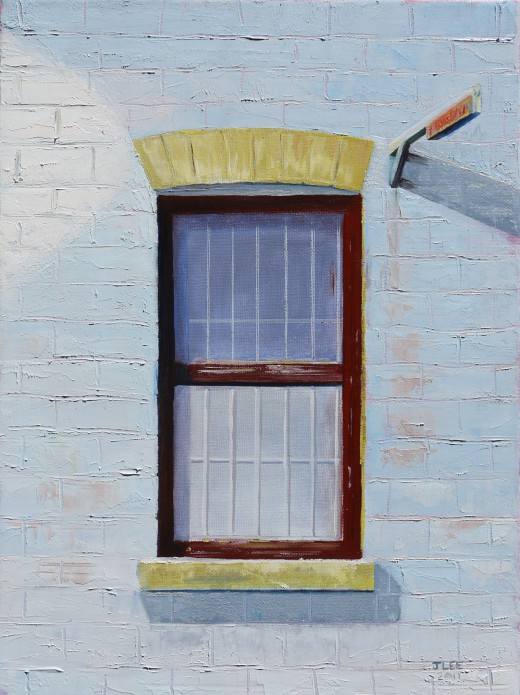 This is the finished painting. In a dark frame it will glow and look 3D. The window recedes due to the flat slightly translucent application. The wall advances as it is opaque and textured. The shadows seal the deal.