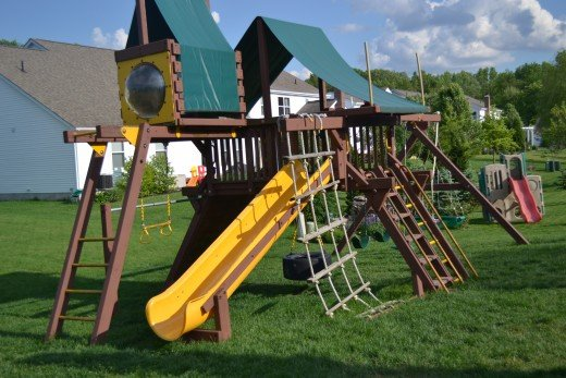 This Landmark Defines My Backyard! Our Backyard Wooden Play Set