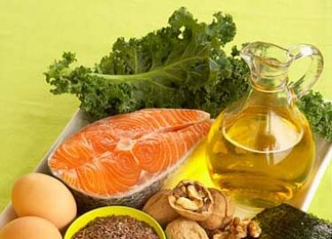 Omega-3 fatty acids are found in fatty fish, leafy greens, walnuts, and flax.
