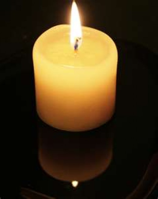 A candle lit in respect