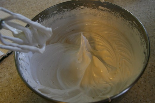 When the meringue is ready, it will form stiff peaks.